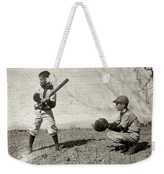 Boys Playing Baseball Weekender Tote Bag