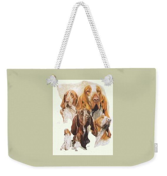 Weekender Tote Bag featuring the mixed media Bracco Italiano Medley by Barbara Keith