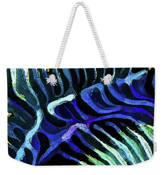 Brain Coral Abstract 3 In Blue Weekender Tote Bag