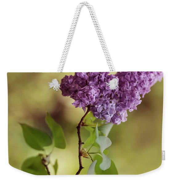 Weekender Tote Bag featuring the photograph Branch Of Fresh Violet Lilac by Jaroslaw Blaminsky