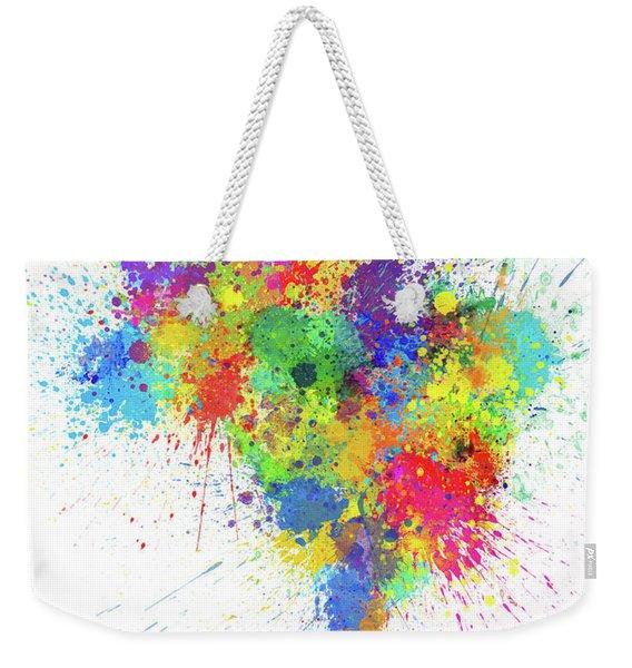 Brazil Paint Splashes Map Weekender Tote Bag