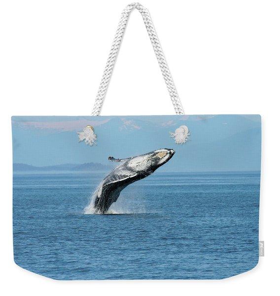 Breaching Humpback Whales Happy-3 Weekender Tote Bag