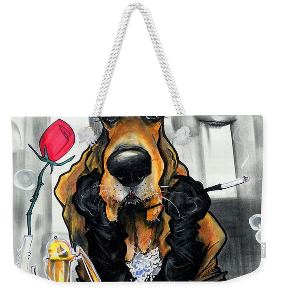 Breakfast At Tiffany's Basset Hound Caricature Art Print Weekender Tote Bag