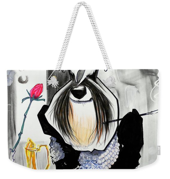 Breakfast At Tiffany's Schnauzer Caricature Weekender Tote Bag