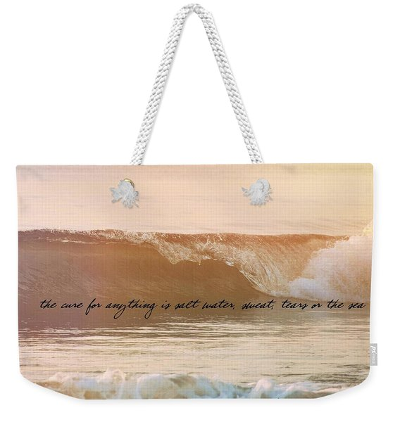 Weekender Tote Bag featuring the photograph Breaking Wave Quote by JAMART Photography