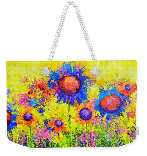 Breath Of Sunshine - Modern Impressionist Artwork - Palette Knife Work Weekender Tote Bag