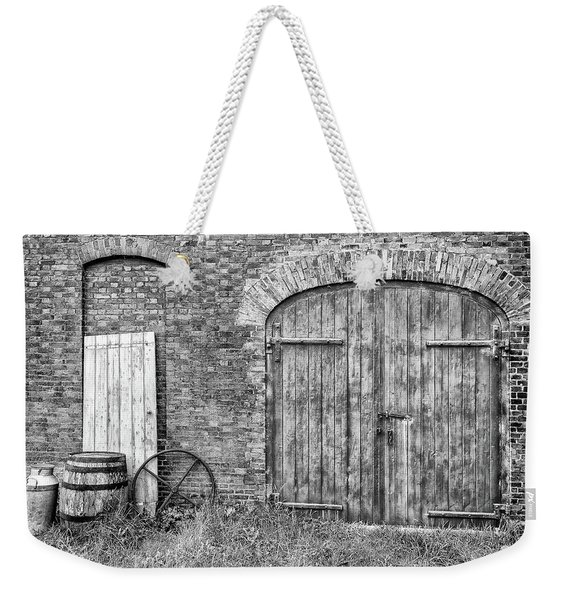 Weekender Tote Bag featuring the photograph Brewhouse Door by Nick Bywater