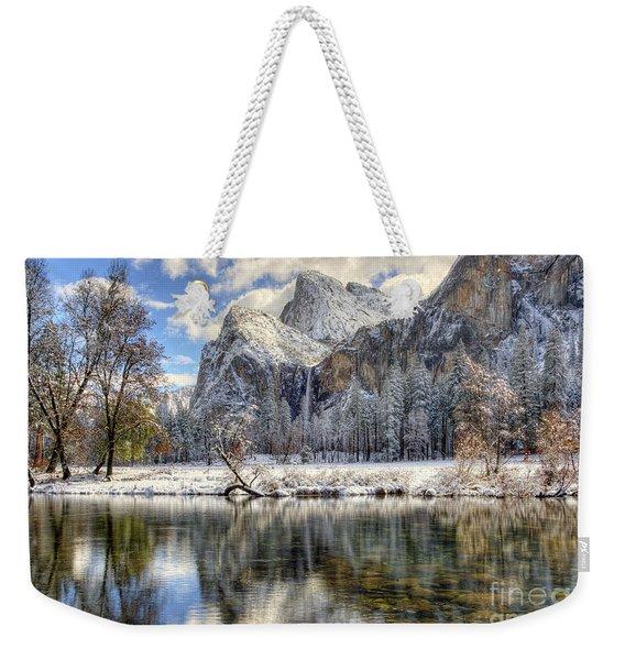 Bridalveil Falls From Valley View Yosemite National Park  Weekender Tote Bag
