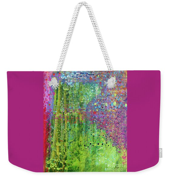 Abstract Green And Pink Weekender Tote Bag