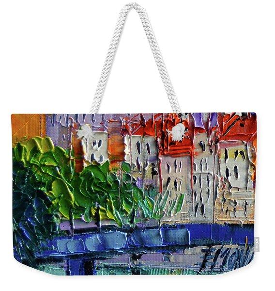 Bridge On The Saone River - Lyon France - Palette Knife Oil Painting By Mona Edulesco Weekender Tote Bag