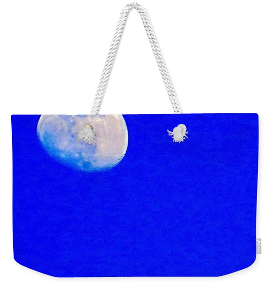 #bright #blue #sky And A #daytime #moon Weekender Tote Bag