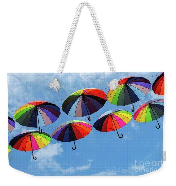 Bright Colorful Umbrellas  Weekender Tote Bag