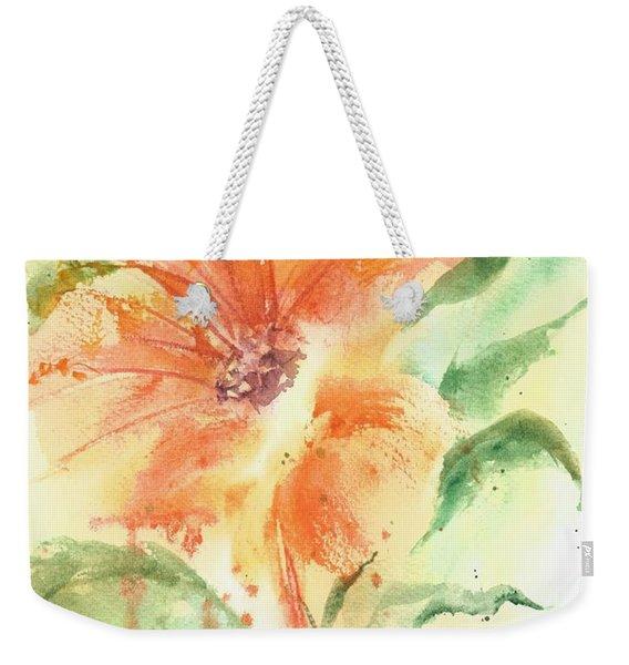 Bright Orange Flower Weekender Tote Bag