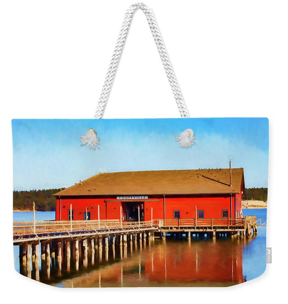 Bright Red Coupeville Wharf On Whidbey Island Weekender Tote Bag