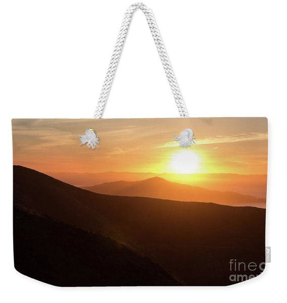 Bright Sun Rising Over The Mountains Weekender Tote Bag