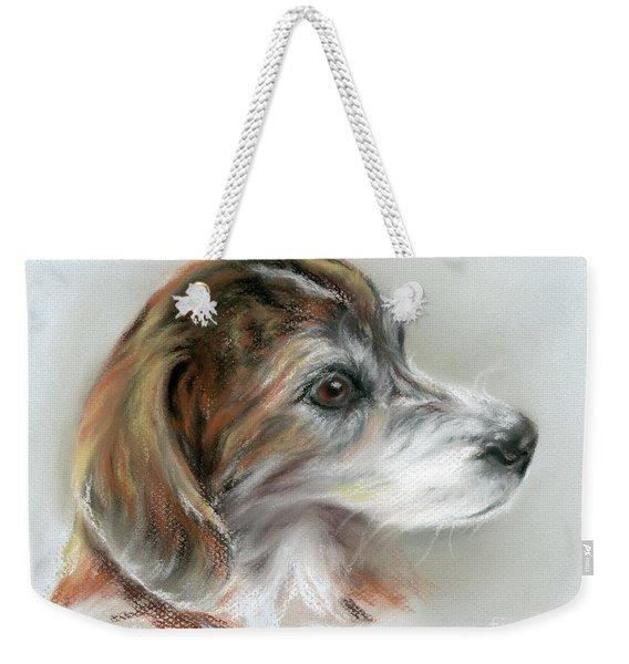 Brindle Beagle Mix Portrait Weekender Tote Bag