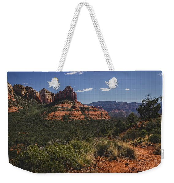 Weekender Tote Bag featuring the photograph Brins Mesa Trail Vista by Andy Konieczny