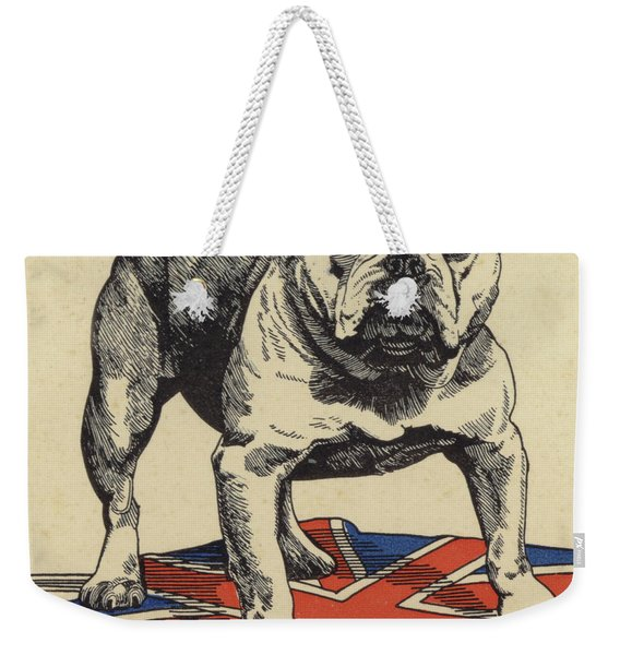 British Bulldog Standing On The Union Jack Flag Weekender Tote Bag