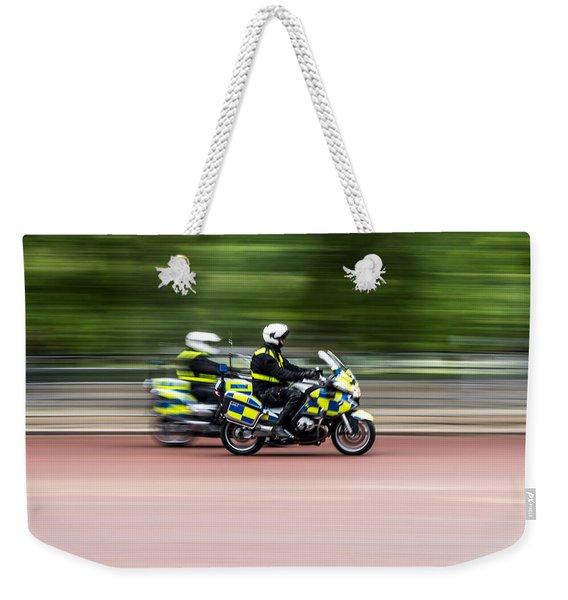 British Police Motorcycle Weekender Tote Bag