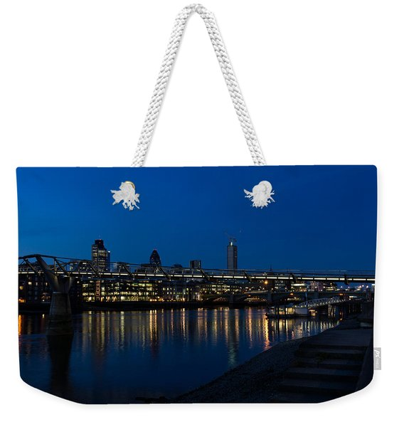 British Symbols And Landmarks - Millennium Bridge And Thames River At Low Tide Weekender Tote Bag