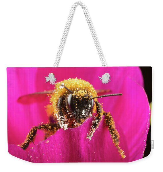 Weekender Tote Bag featuring the photograph Bro Got Any Pollen by Brian Hale