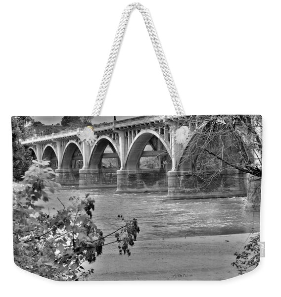 Gervais Street Bridge Black And White Weekender Tote Bag