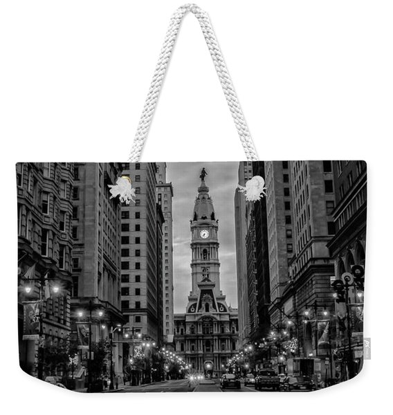 Broad Street After Dark - Panorama In Black And White Weekender Tote Bag