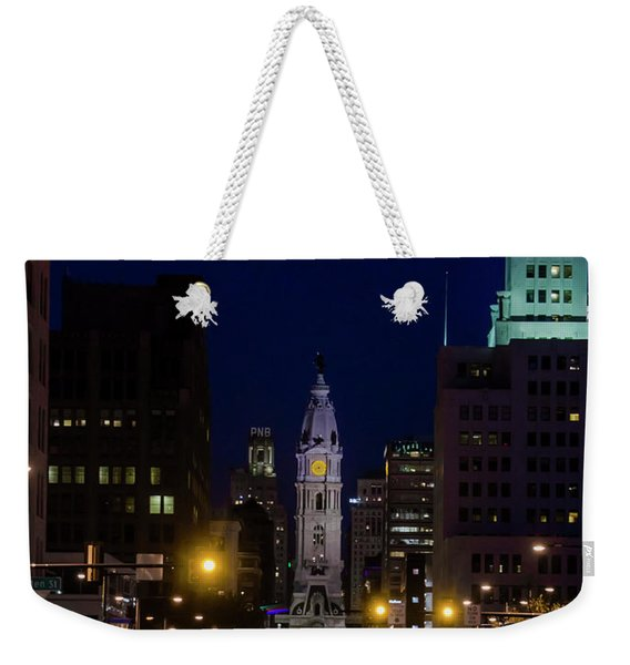 Broad Street At Night - City Hall Weekender Tote Bag