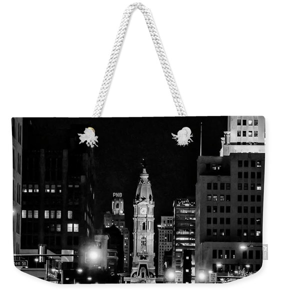 Broad Street At Night - City Hall In Black And White Weekender Tote Bag
