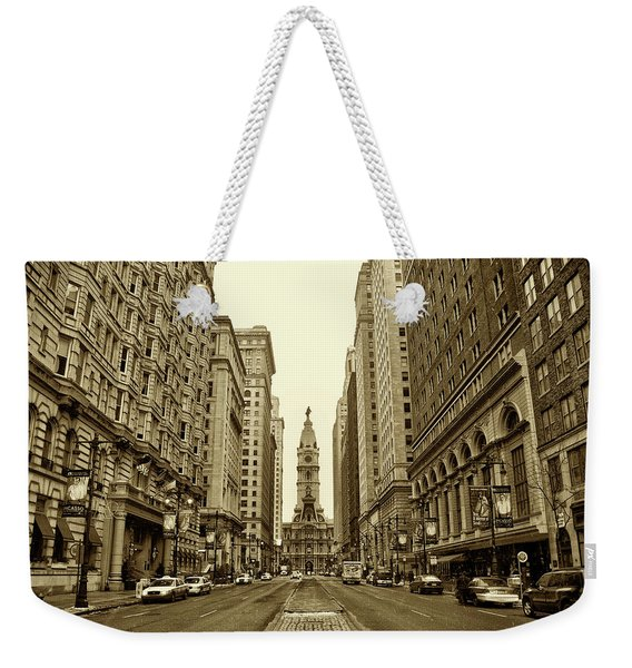 Broad Street Facing Philadelphia City Hall In Sepia Weekender Tote Bag
