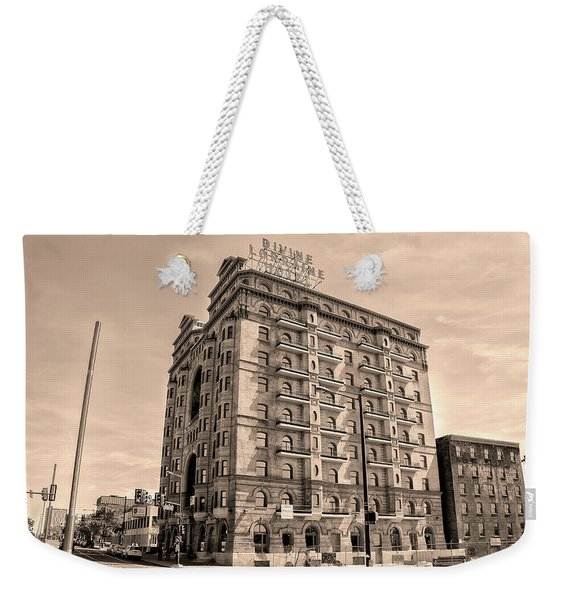 Broad Street - Revitalized Divine Lorraine Hotel In Sepia Weekender Tote Bag