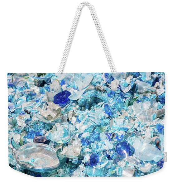 Broken Glass Blue Weekender Tote Bag