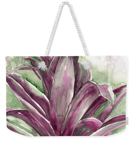 Weekender Tote Bag featuring the painting Bromeliad by Ashley Kujan