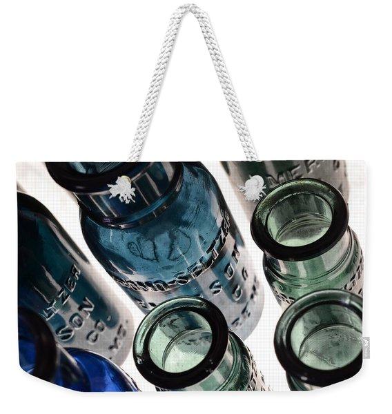 Bromo Seltzer Vintage Glass Bottles - Rare Green And Blue Weekender Tote Bag