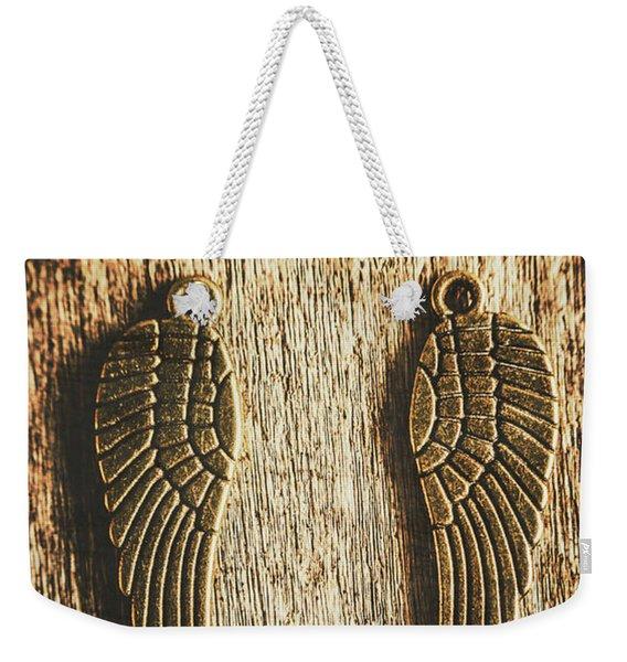Bronze Angel Wings Weekender Tote Bag