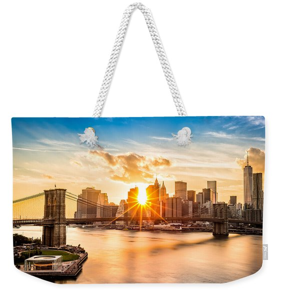 Brooklyn Bridge And The Lower Manhattan Skyline At Sunset Weekender Tote Bag