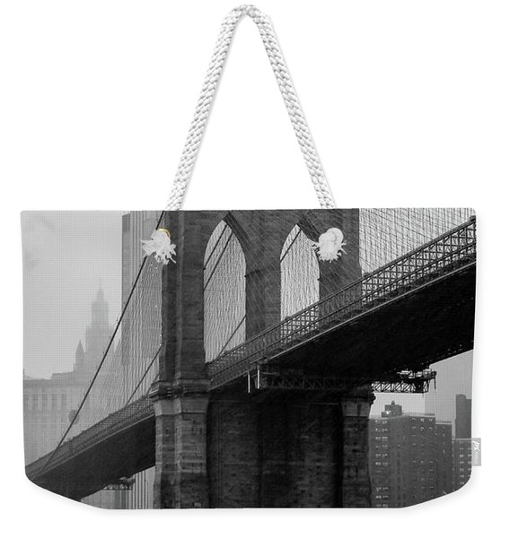 Brooklyn Bridge In A Storm Weekender Tote Bag