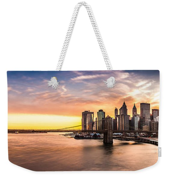Weekender Tote Bag featuring the photograph Brooklyn Bridge Panorama by Mihai Andritoiu