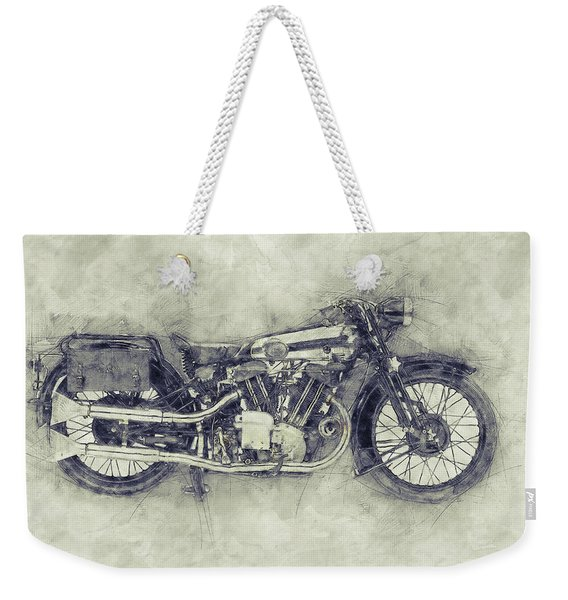 Brough Superior Ss100 - 1924 - Motorcycle Poster 1 - Automotive Art Weekender Tote Bag
