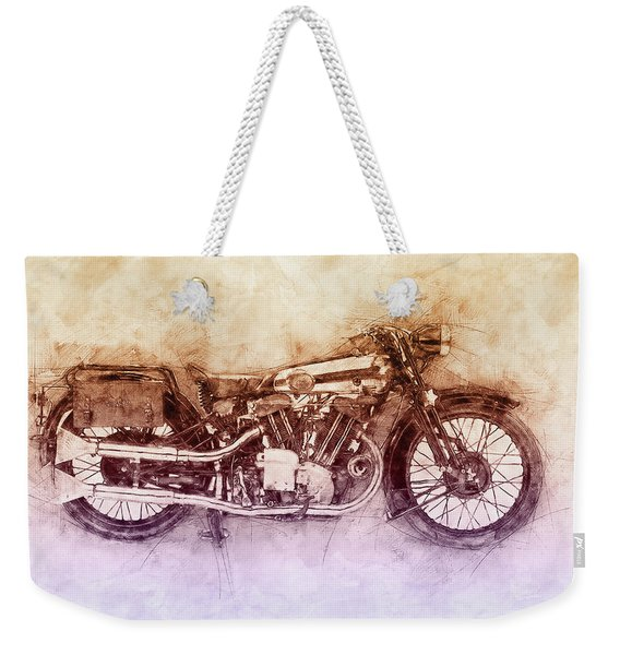Brough Superior Ss100 - 1924 - Motorcycle Poster 2 - Automotive Art Weekender Tote Bag