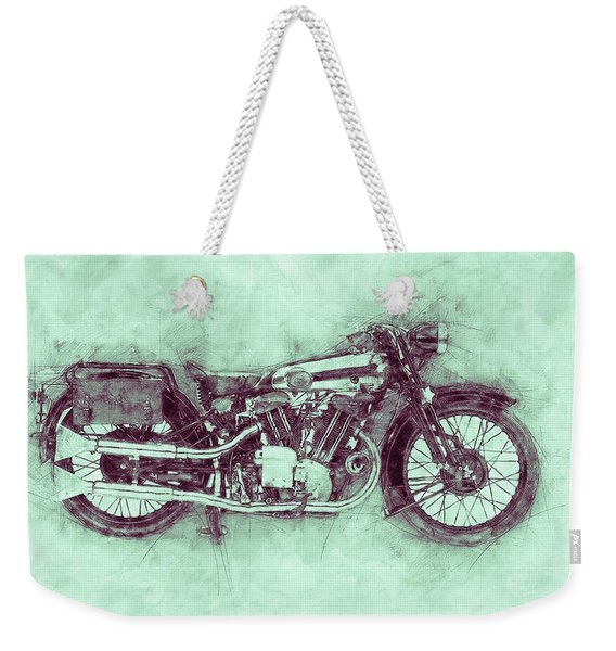 Brough Superior Ss100 - 1924 - Motorcycle Poster 3 - Automotive Art Weekender Tote Bag