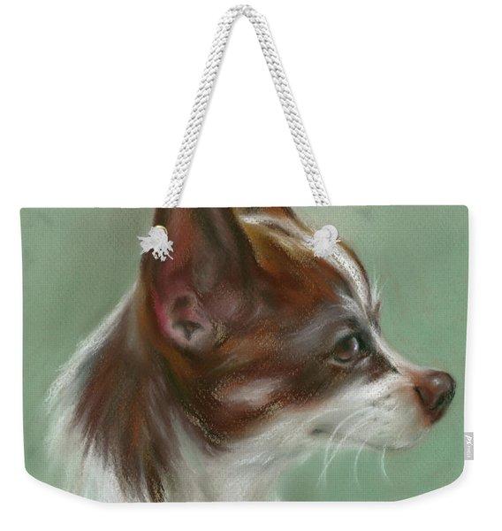 Brown And White Chihuahua Weekender Tote Bag