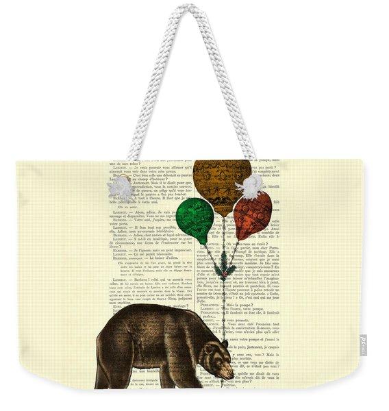 Brown Bear With Balloons Weekender Tote Bag