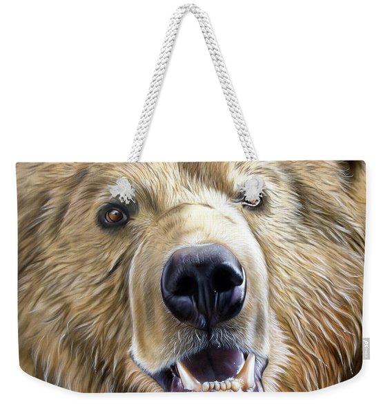 Weekender Tote Bag featuring the painting Brown Bear by Sandi Baker