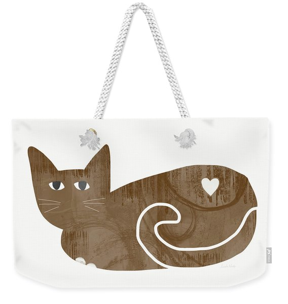 Brown Cat- Art By Linda Woods Weekender Tote Bag