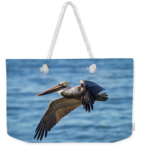 Brown Pelican In Flight Weekender Tote Bag