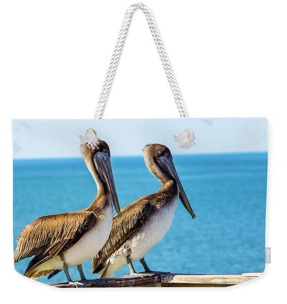 Brown Pelican Pair Weekender Tote Bag