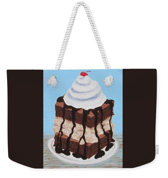Weekender Tote Bag featuring the painting Brownie Ice Cream Sandwich by Nancy Nale