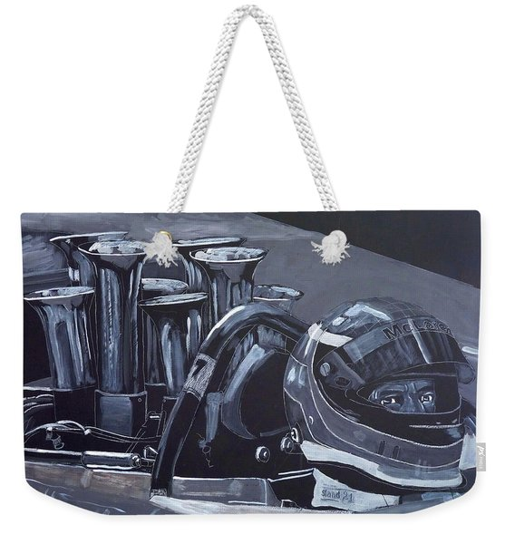 Weekender Tote Bag featuring the painting Bruce Mclaren Canam by Richard Le Page