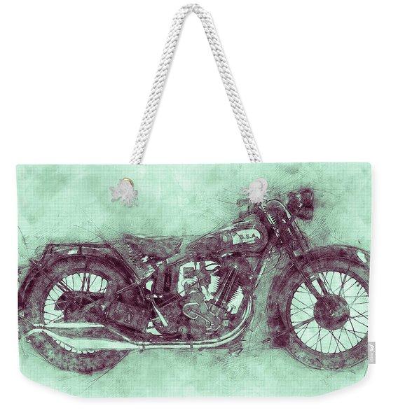Bsa Sloper 3 - 1927 - Vintage Motorcycle Poster - Automotive Art Weekender Tote Bag